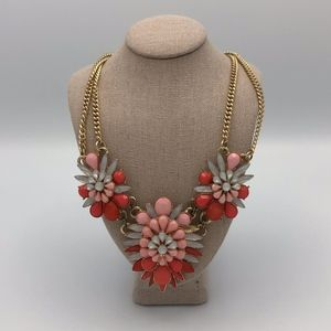 Flower Statement Necklace pink red crystals